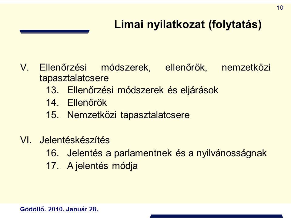 Gödöllő. 2010. Január 28. 10 V.Ellenőrzési módszerek, ellenőrök, nemzetközi tapasztalatcsere 13.Ellenőrzési módszerek és eljárások 14.Ellenőrök 15.Nem