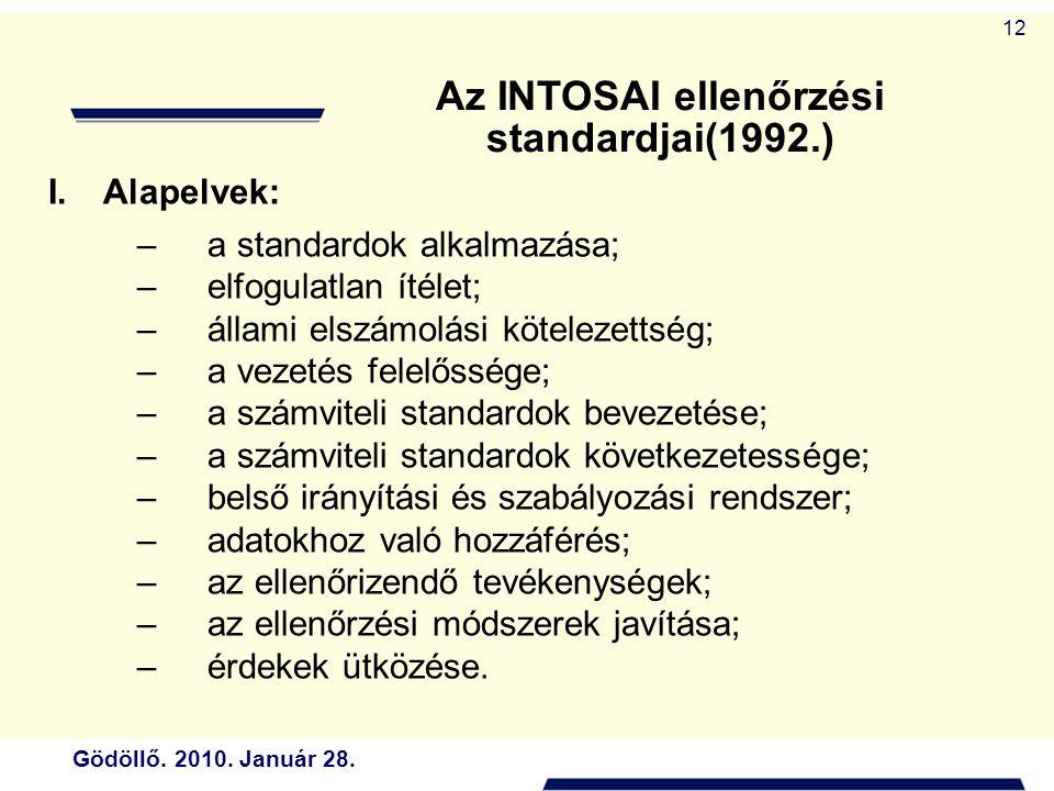 Gödöllő. 2010. Január 28. 12 I.Alapelvek: –a standardok alkalmazása; –elfogulatlan ítélet; –állami elszámolási kötelezettség; –a vezetés felelőssége;