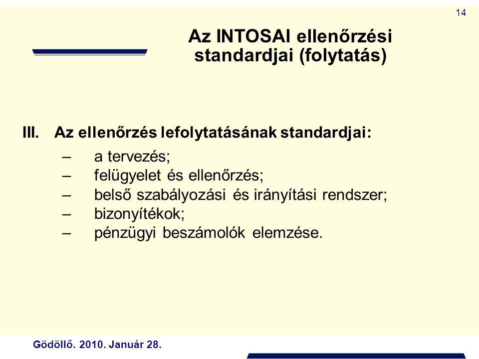 Gödöllő. 2010. Január 28. 14 III.Az ellenőrzés lefolytatásának standardjai: –a tervezés; –felügyelet és ellenőrzés; –belső szabályozási és irányítási