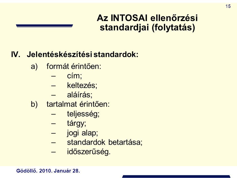 Gödöllő. 2010. Január 28. 15 IV.Jelentéskészítési standardok: a)formát érintően: –cím; –keltezés; –aláírás; b)tartalmat érintően: –teljesség; –tárgy;