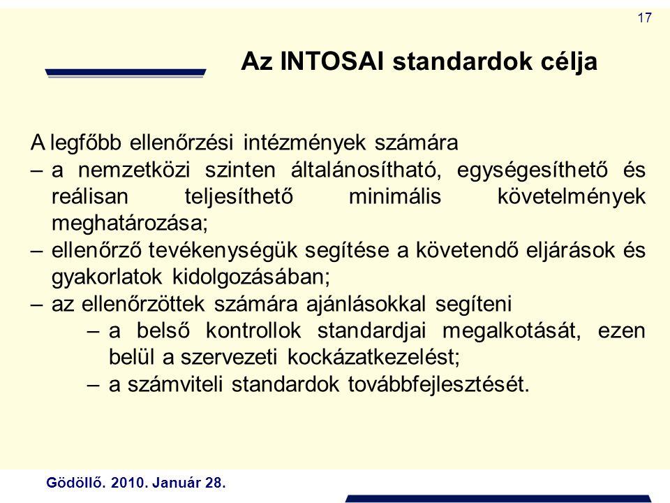 Gödöllő. 2010. Január 28. 17 A legfőbb ellenőrzési intézmények számára –a nemzetközi szinten általánosítható, egységesíthető és reálisan teljesíthető