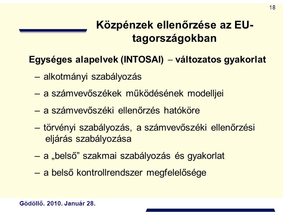 Gödöllő. 2010. Január 28. 18 Egységes alapelvek (INTOSAI)  változatos gyakorlat –alkotmányi szabályozás –a számvevőszékek működésének modelljei –a sz