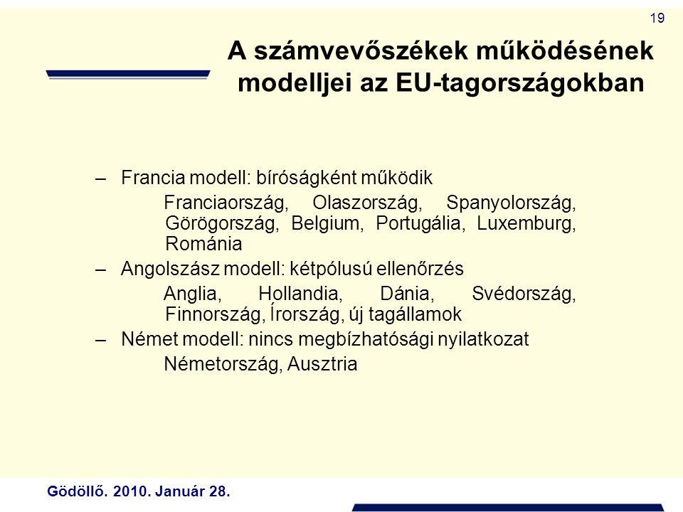 Gödöllő. 2010. Január 28. 19 A számvevőszékek működésének modelljei az EU-tagországokban –Francia modell: bíróságként működik Franciaország, Olaszorsz