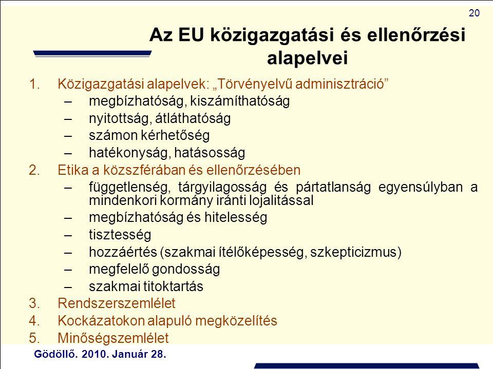 """Gödöllő. 2010. Január 28. 20 Az EU közigazgatási és ellenőrzési alapelvei 1.Közigazgatási alapelvek: """"Törvényelvű adminisztráció"""" –megbízhatóság, kisz"""