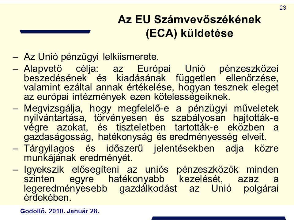 Gödöllő. 2010. Január 28. 23 Az EU Számvevőszékének (ECA) küldetése –Az Unió pénzügyi lelkiismerete. –Alapvető célja: az Európai Unió pénzeszközei bes