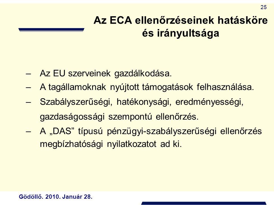 Gödöllő. 2010. Január 28. 25 Az ECA ellenőrzéseinek hatásköre és irányultsága –Az EU szerveinek gazdálkodása. –A tagállamoknak nyújtott támogatások fe