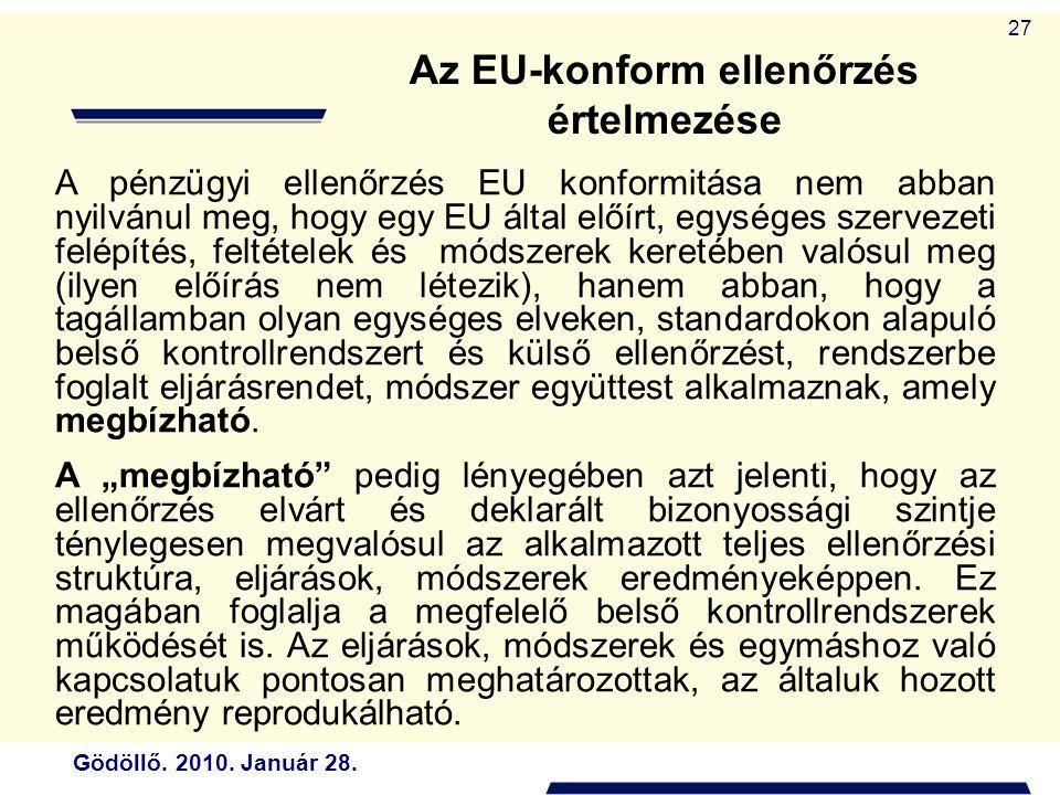Gödöllő. 2010. Január 28. 27 Az EU-konform ellenőrzés értelmezése A pénzügyi ellenőrzés EU konformitása nem abban nyilvánul meg, hogy egy EU által elő