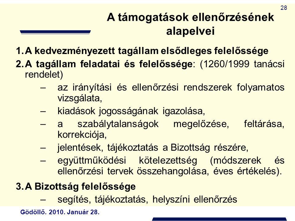 Gödöllő. 2010. Január 28. 28 A támogatások ellenőrzésének alapelvei 1.A kedvezményezett tagállam elsődleges felelőssége 2.A tagállam feladatai és fele