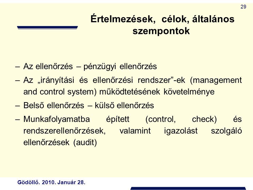 """Gödöllő. 2010. Január 28. 29 –Az ellenőrzés – pénzügyi ellenőrzés –Az """"irányítási és ellenőrzési rendszer""""-ek (management and control system) működtet"""