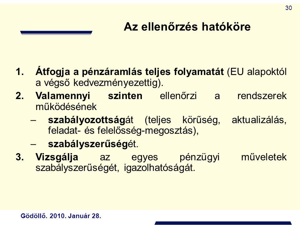 Gödöllő. 2010. Január 28. 30 Az ellenőrzés hatóköre 1.Átfogja a pénzáramlás teljes folyamatát (EU alapoktól a végső kedvezményezettig). 2.Valamennyi s