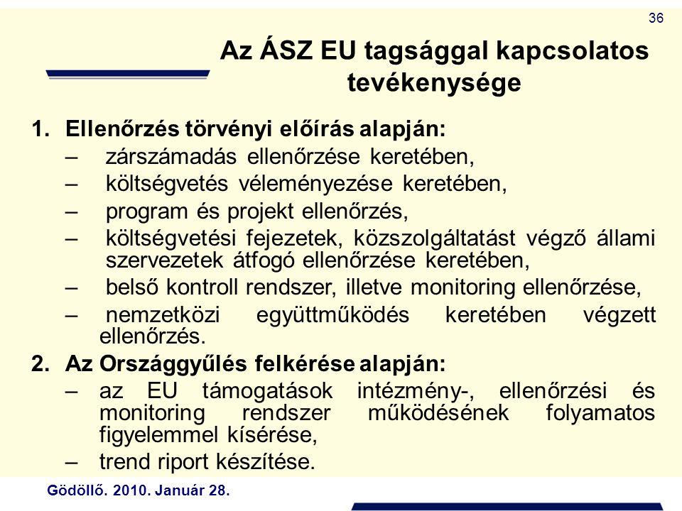 Gödöllő. 2010. Január 28. 36 Az ÁSZ EU tagsággal kapcsolatos tevékenysége 1.Ellenőrzés törvényi előírás alapján: – zárszámadás ellenőrzése keretében,
