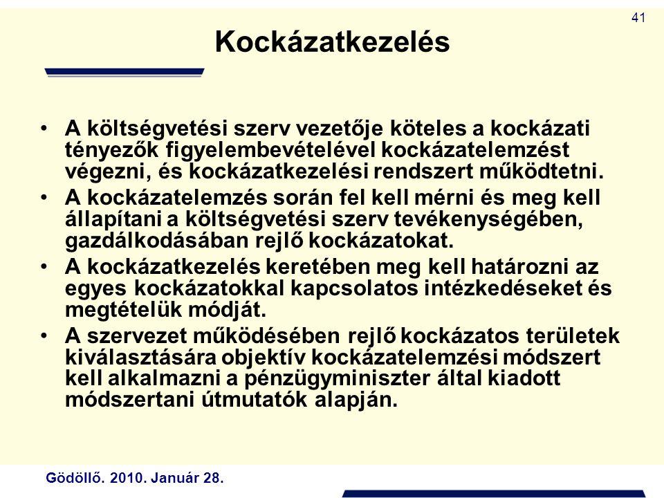 Gödöllő. 2010. Január 28. 41 Kockázatkezelés A költségvetési szerv vezetője köteles a kockázati tényezők figyelembevételével kockázatelemzést végezni,