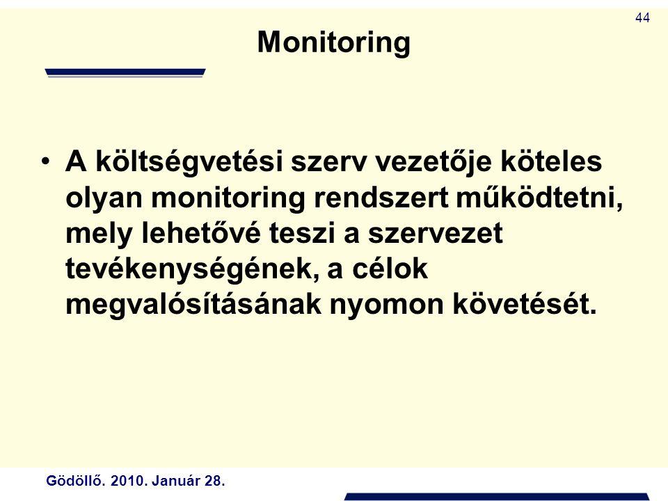 Gödöllő. 2010. Január 28. 44 Monitoring A költségvetési szerv vezetője köteles olyan monitoring rendszert működtetni, mely lehetővé teszi a szervezet