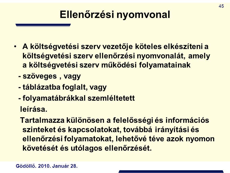 Gödöllő. 2010. Január 28. 45 Ellenőrzési nyomvonal A költségvetési szerv vezetője köteles elkészíteni a költségvetési szerv ellenőrzési nyomvonalát, a