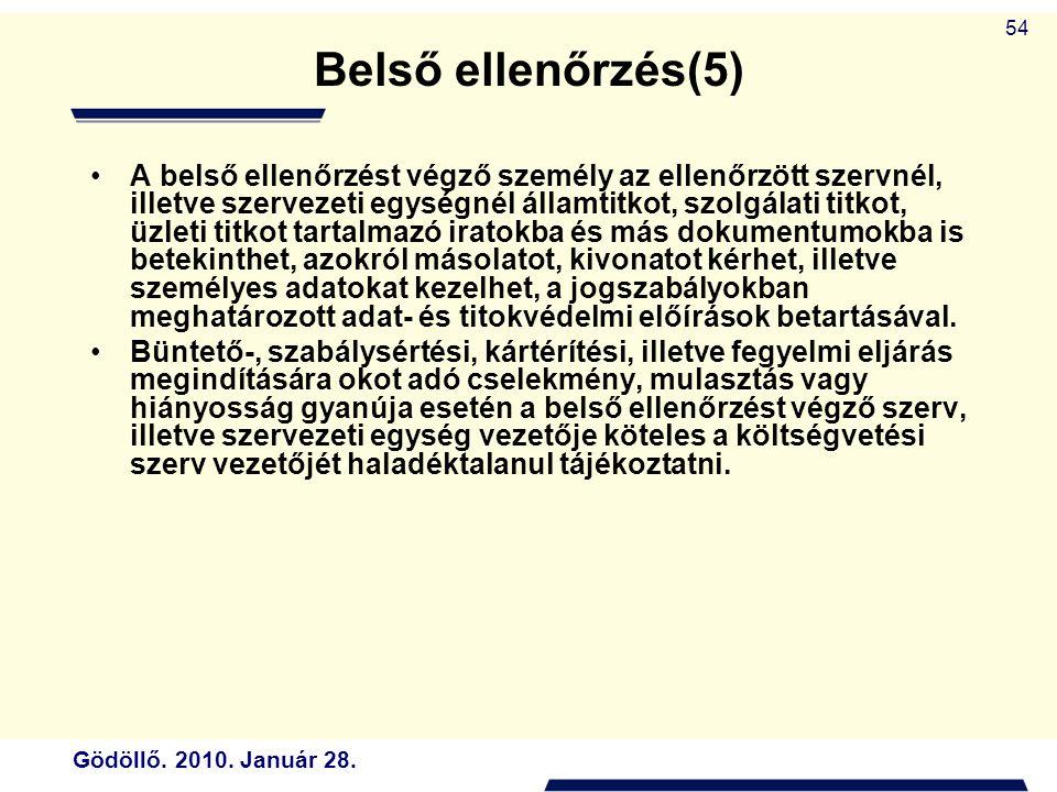 Gödöllő. 2010. Január 28. 54 Belső ellenőrzés(5) A belső ellenőrzést végző személy az ellenőrzött szervnél, illetve szervezeti egységnél államtitkot,