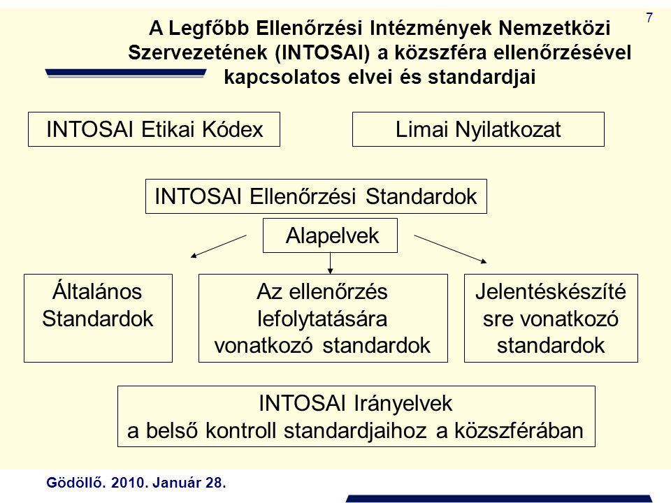 Gödöllő. 2010. Január 28. 7 A Legfőbb Ellenőrzési Intézmények Nemzetközi Szervezetének (INTOSAI) a közszféra ellenőrzésével kapcsolatos elvei és stand