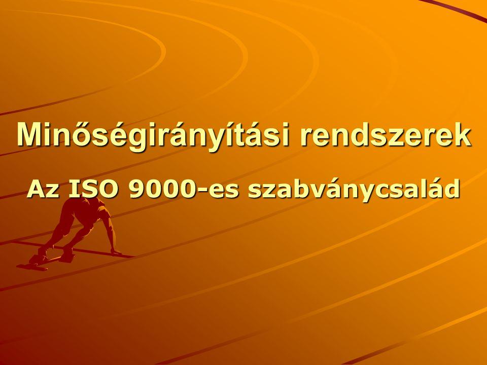 – ISO 9001:2000 nemzetközi szabvány ISO: International Organisation for Standardisation Nemzetközi Szabványügyi Szervezet (Genf) Nemzetközi, európai és nemzeti szabványok jelölése, kapcsolatuk