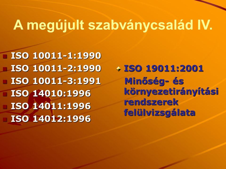 A megújult szabványcsalád IV. n ISO 10011-1:1990 n ISO 10011-2:1990 n ISO 10011-3:1991 n ISO 14010:1996 n ISO 14011:1996 n ISO 14012:1996 ISO 19011:20