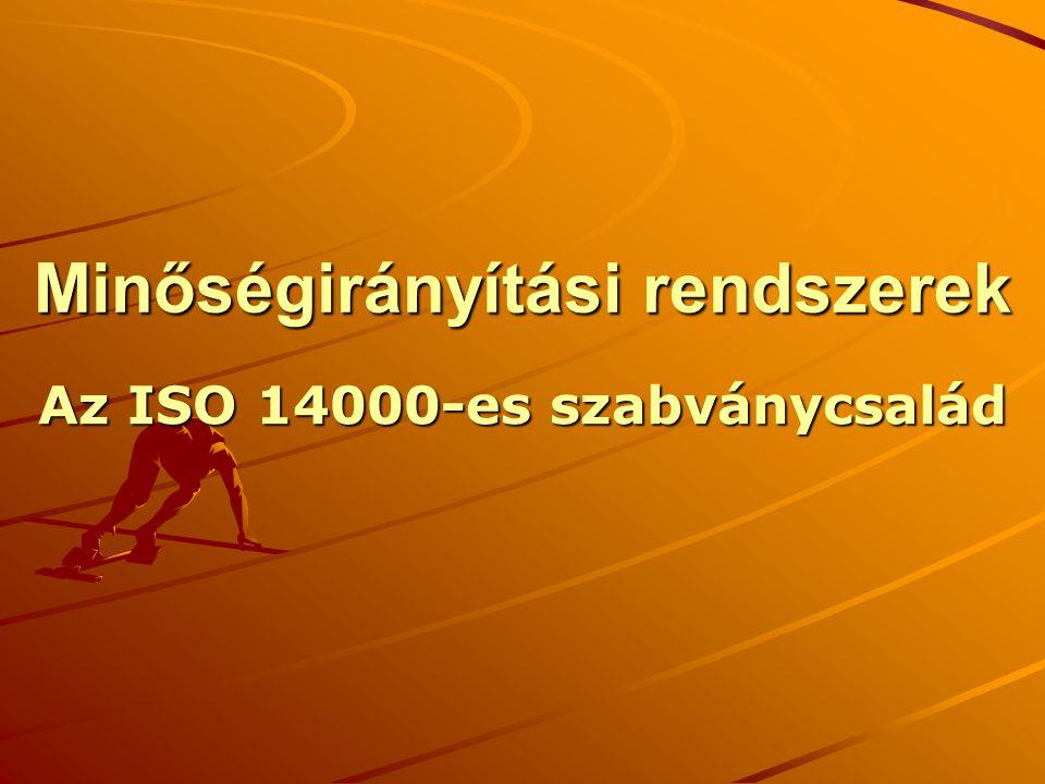 Minőségirányítási rendszerek Az ISO 14000-es szabványcsalád