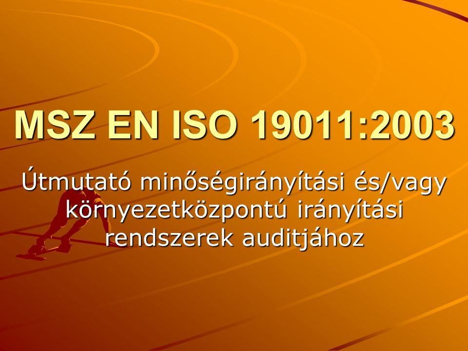 MSZ EN ISO 19011:2003 Útmutató minőségirányítási és/vagy környezetközpontú irányítási rendszerek auditjához