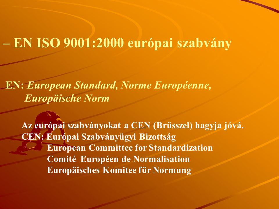 – EN ISO 9001:2000 európai szabvány Az európai szabványokat a CEN (Brüsszel) hagyja jóvá. CEN: Európai Szabványügyi Bizottság European Committee for S