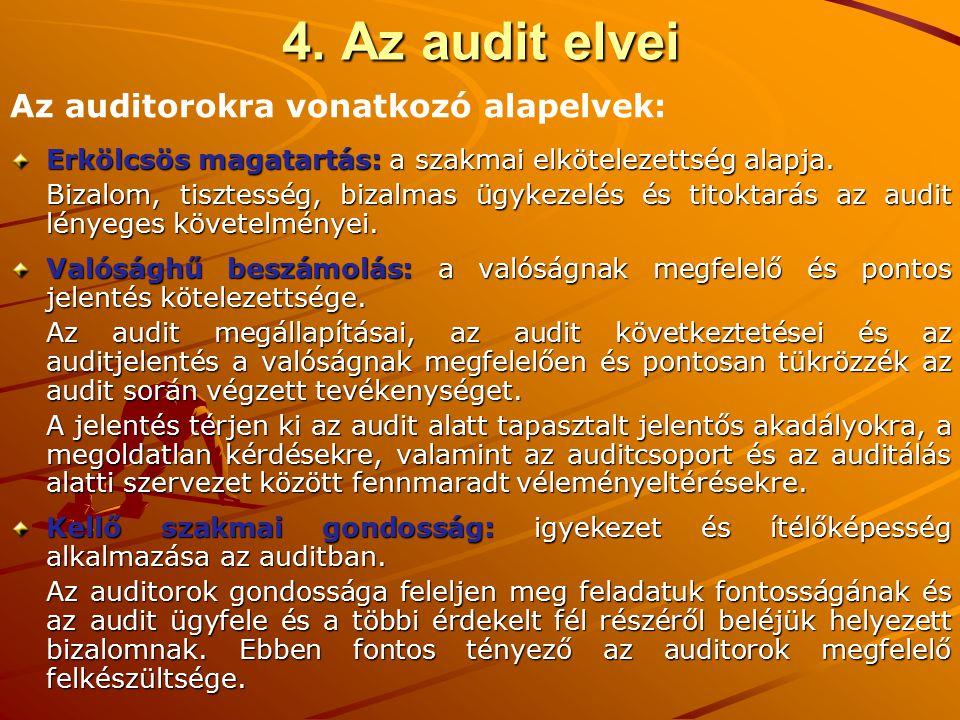 4. Az audit elvei Erkölcsös magatartás: a szakmai elkötelezettség alapja. Bizalom, tisztesség, bizalmas ügykezelés és titoktarás az audit lényeges köv
