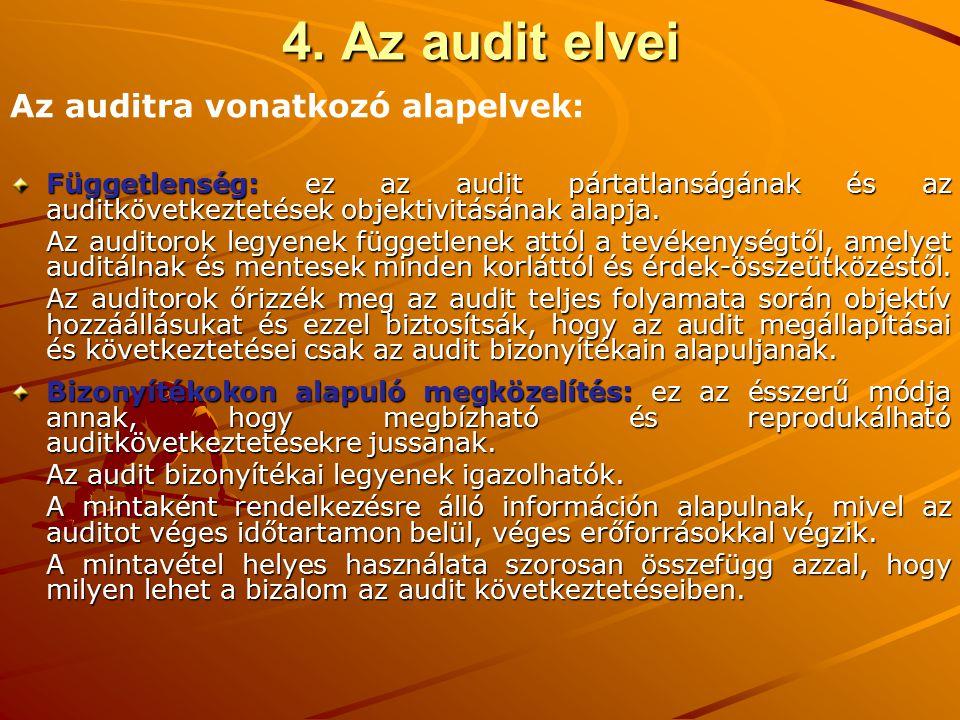 Függetlenség: ez az audit pártatlanságának és az auditkövetkeztetések objektivitásának alapja. Az auditorok legyenek függetlenek attól a tevékenységtő