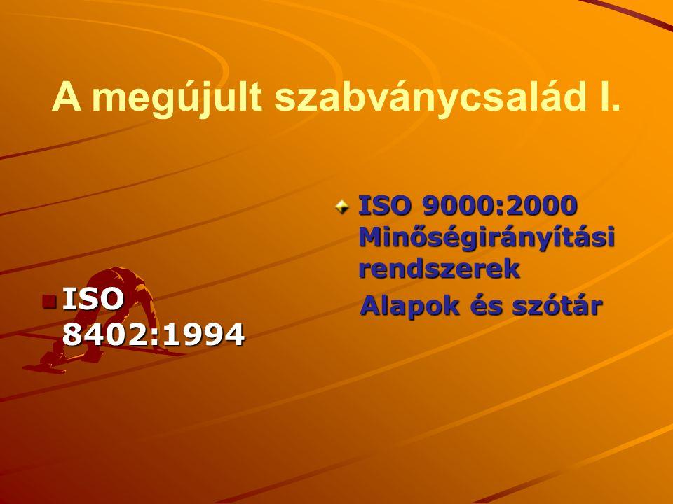 A megújult szabványcsalád I. n ISO 8402:1994 ISO 9000:2000 Minőségirányítási rendszerek Alapok és szótár Alapok és szótár
