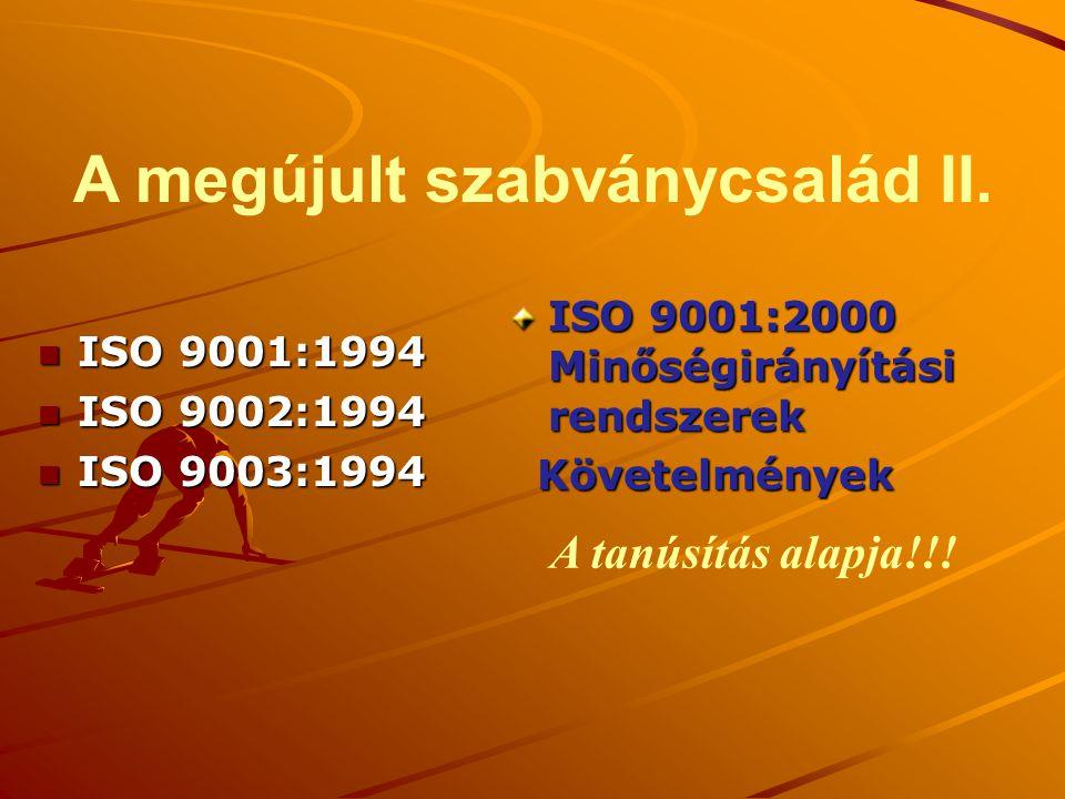 A megújult szabványcsalád II. n ISO 9001:1994 n ISO 9002:1994 n ISO 9003:1994 ISO 9001:2000 Minőségirányítási rendszerek Követelmények Követelmények A