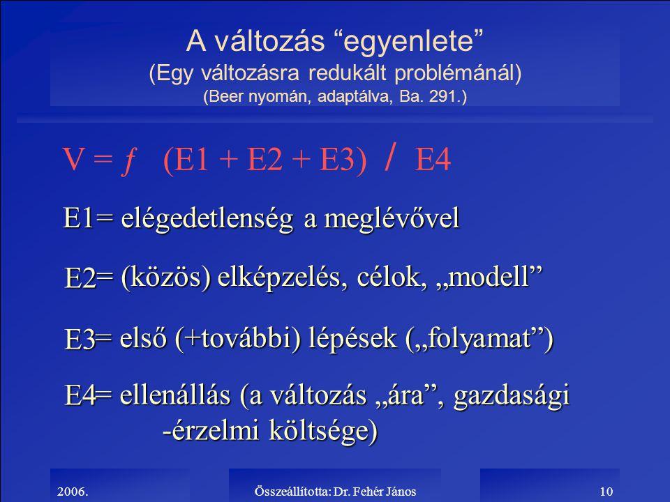 """2006.Összeállította: Dr. Fehér János10 A változás """"egyenlete"""" (Egy változásra redukált problémánál) (Beer nyomán, adaptálva, Ba. 291.) V = ƒ (E1 + E2"""