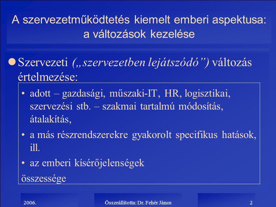 """2006.Összeállította: Dr. Fehér János2 A szervezetműködtetés kiemelt emberi aspektusa: a változások kezelése lSzervezeti (""""szervezetben lejátszódó"""") vá"""