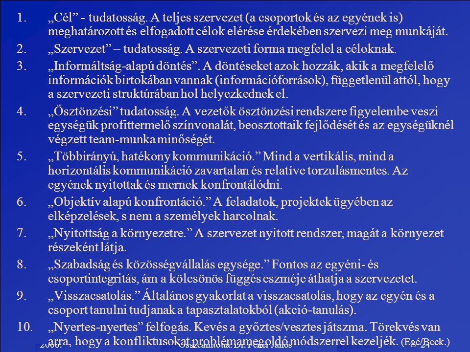 """2006.Összeállította: Dr. Fehér János24 1.""""Cél"""" - tudatosság. A teljes szervezet (a csoportok és az egyének is) meghatározott és elfogadott célok eléré"""