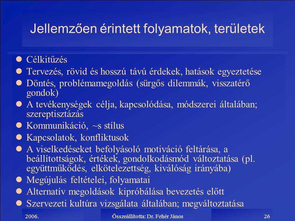 2006.Összeállította: Dr. Fehér János26 Jellemzően érintett folyamatok, területek lCélkitűzés lTervezés, rövid és hosszú távú érdekek, hatások egyeztet