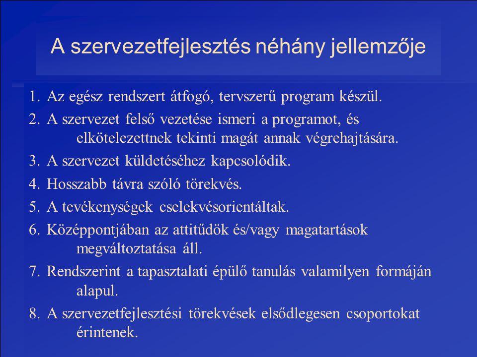 2006.Összeállította: Dr. Fehér János28 A szervezetfejlesztés néhány jellemzője 1. Az egész rendszert átfogó, tervszerű program készül. 2. A szervezet