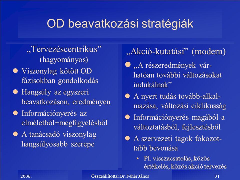 """2006.Összeállította: Dr. Fehér János31 OD beavatkozási stratégiák """"Tervezéscentrikus"""" (hagyományos) lViszonylag kötött OD fázisokban gondolkodás lHang"""