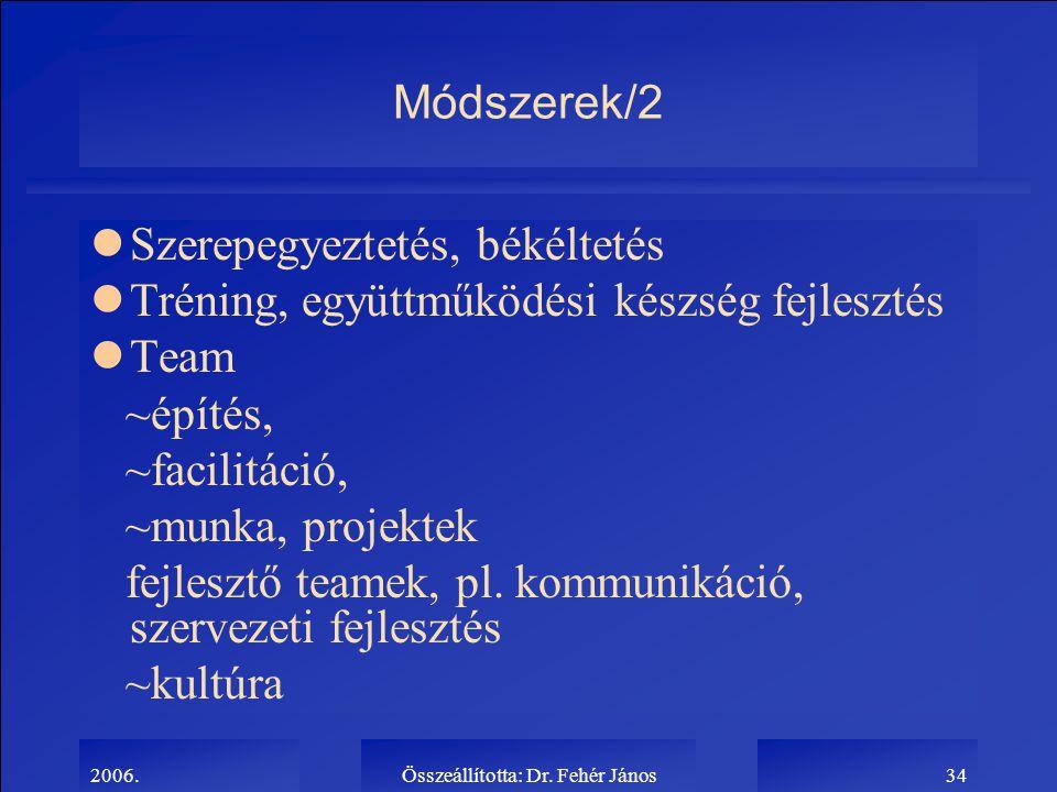 2006.Összeállította: Dr. Fehér János34 Módszerek/2 lSzerepegyeztetés, békéltetés lTréning, együttműködési készség fejlesztés lTeam ~építés, ~facilitác