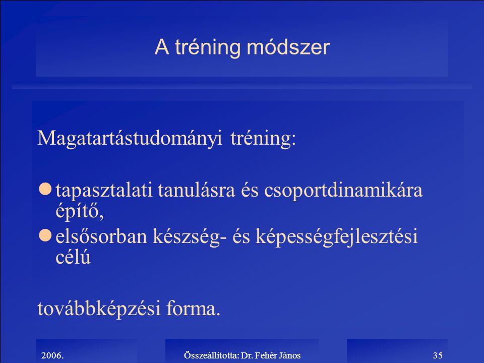 2006.Összeállította: Dr. Fehér János35 A tréning módszer Magatartástudományi tréning: ltapasztalati tanulásra és csoportdinamikára építő, lelsősorban