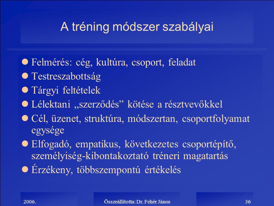2006.Összeállította: Dr. Fehér János36 A tréning módszer szabályai lFelmérés: cég, kultúra, csoport, feladat lTestreszabottság lTárgyi feltételek lLél