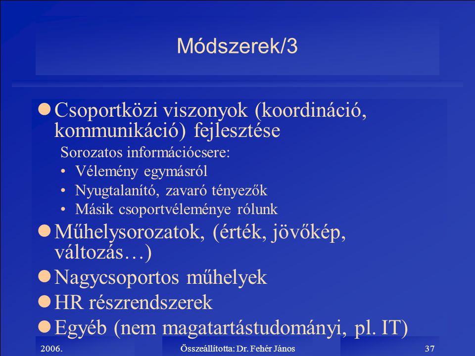 2006.Összeállította: Dr. Fehér János37 Módszerek/3 lCsoportközi viszonyok (koordináció, kommunikáció) fejlesztése Sorozatos információcsere: Vélemény