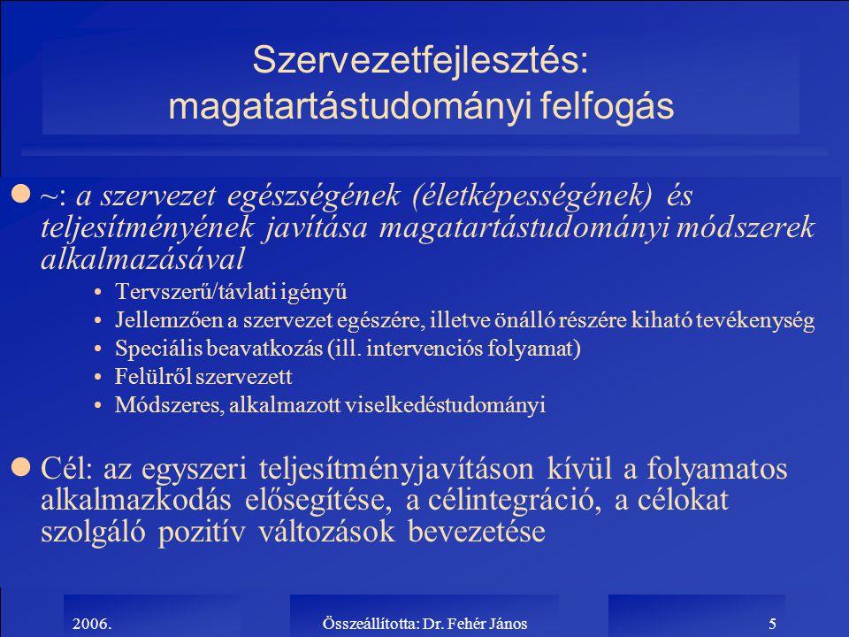 2006.Összeállította: Dr. Fehér János5 Szervezetfejlesztés: magatartástudományi felfogás l~: a szervezet egészségének (életképességének) és teljesítmén