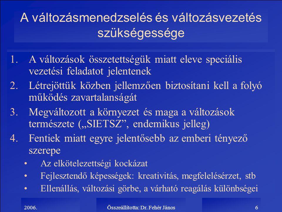2006.Összeállította: Dr. Fehér János6 A változásmenedzselés és változásvezetés szükségessége 1.A változások összetettségük miatt eleve speciális vezet
