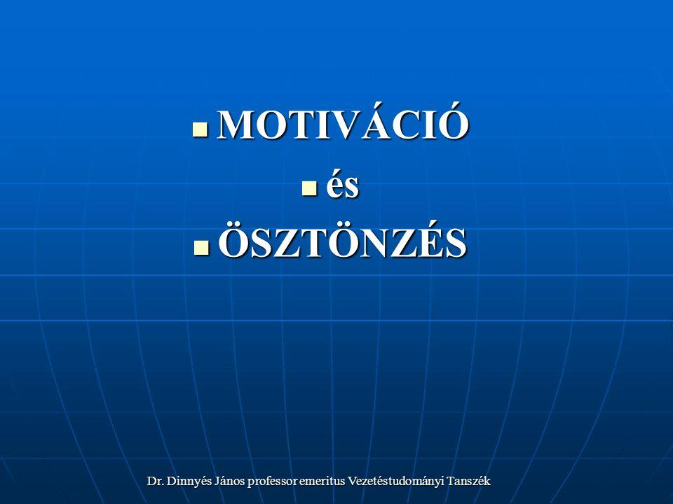 MOTIVÁCIÓ MOTIVÁCIÓ és és ÖSZTÖNZÉS ÖSZTÖNZÉS Dr.