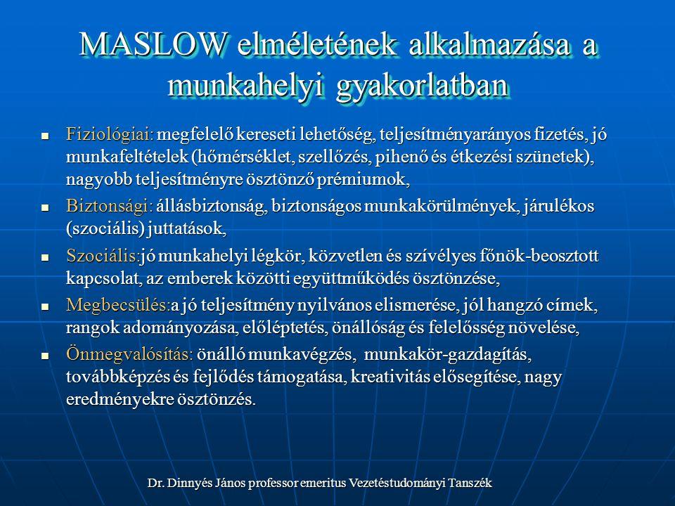 MASLOW elméletének alkalmazása a munkahelyi gyakorlatban Fiziológiai: megfelelő kereseti lehetőség, teljesítményarányos fizetés, jó munkafeltételek (h