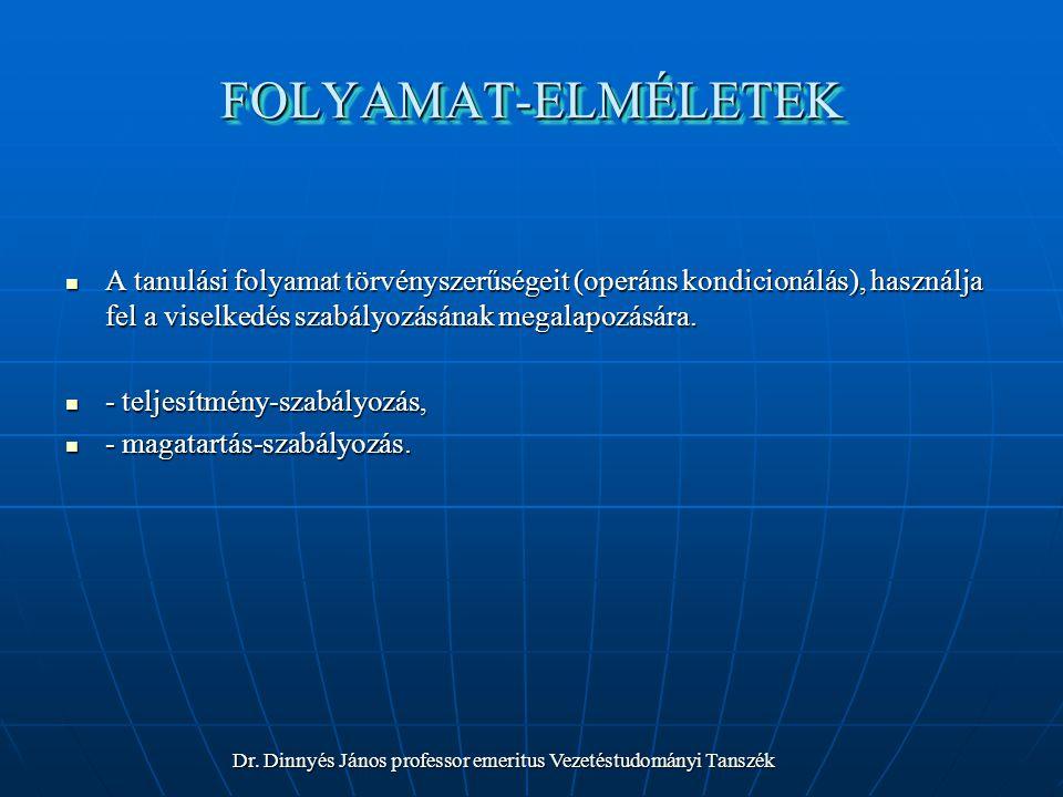 FOLYAMAT-ELMÉLETEKFOLYAMAT-ELMÉLETEK A tanulási folyamat törvényszerűségeit (operáns kondicionálás), használja fel a viselkedés szabályozásának megalapozására.