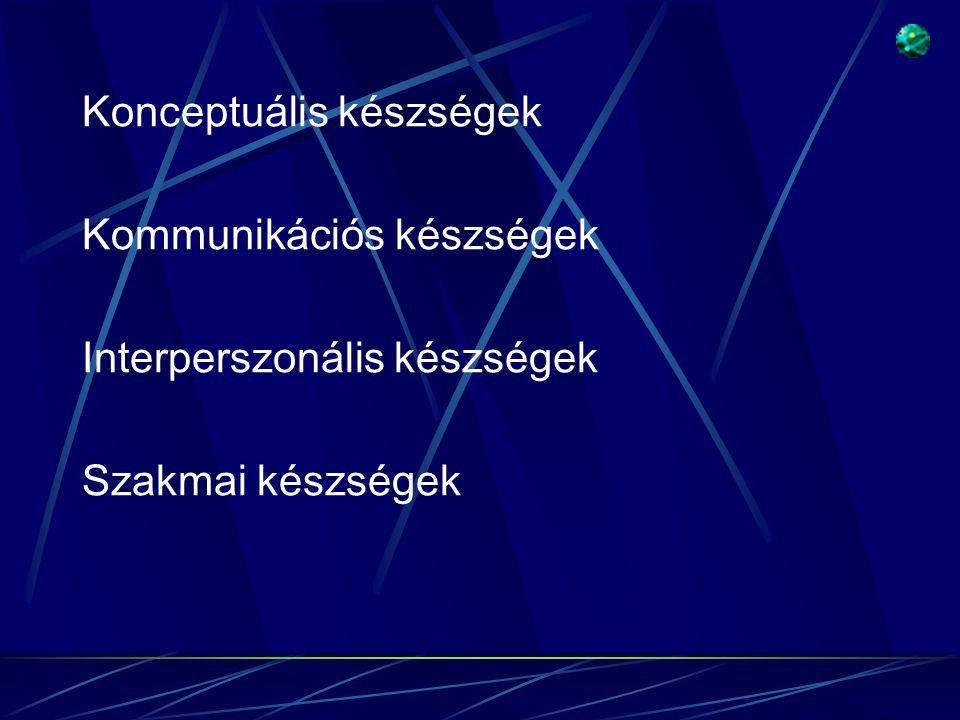 Konceptuális készségek Kommunikációs készségek Interperszonális készségek Szakmai készségek