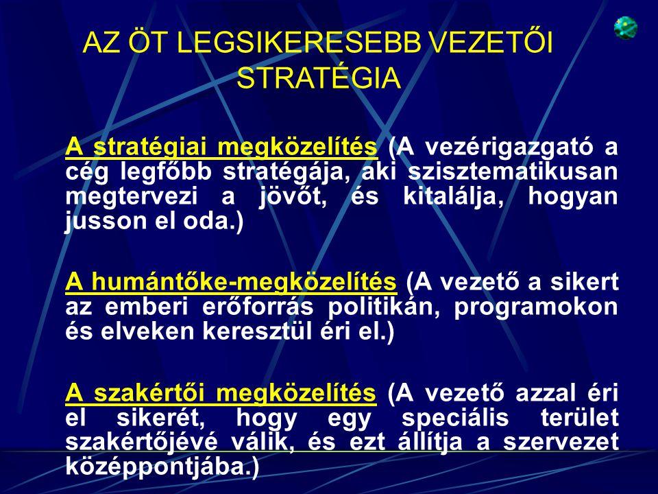 AZ ÖT LEGSIKERESEBB VEZETŐI STRATÉGIA A stratégiai megközelítés (A vezérigazgató a cég legfőbb stratégája, aki szisztematikusan megtervezi a jövőt, és kitalálja, hogyan jusson el oda.) A humántőke-megközelítés (A vezető a sikert az emberi erőforrás politikán, programokon és elveken keresztül éri el.) A szakértői megközelítés (A vezető azzal éri el sikerét, hogy egy speciális terület szakértőjévé válik, és ezt állítja a szervezet középpontjába.)