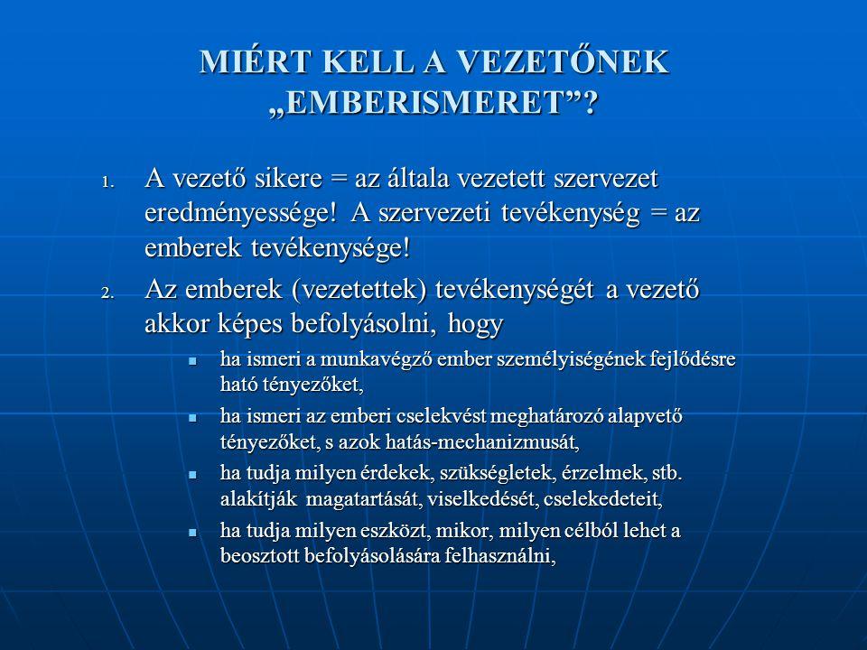 """MIÉRT KELL A VEZETŐNEK """"EMBERISMERET .1."""