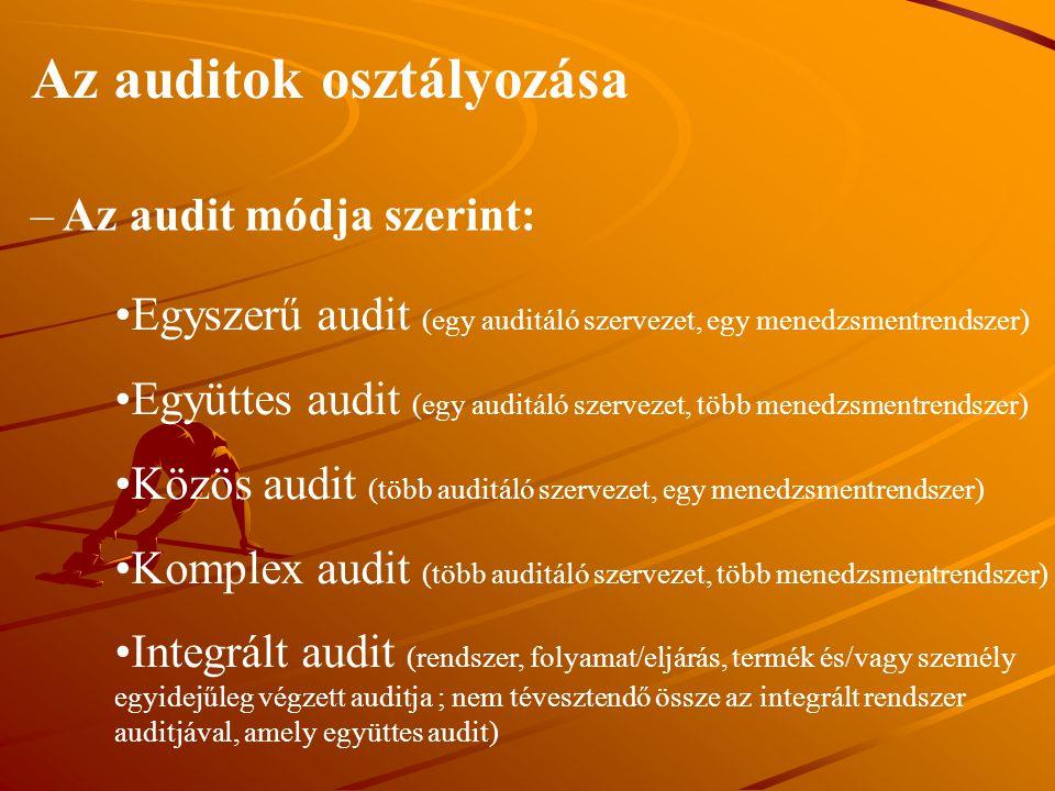Az auditok osztályozása – Az audit módja szerint: Egyszerű audit (egy auditáló szervezet, egy menedzsmentrendszer) Együttes audit (egy auditáló szerve