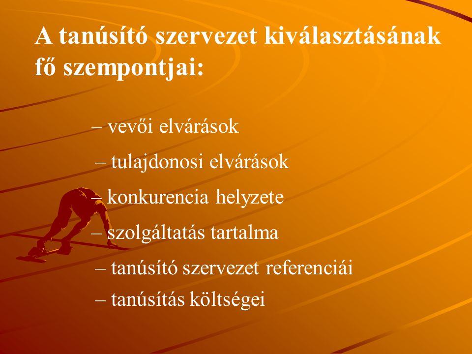 A tanúsító szervezet kiválasztásának fő szempontjai: – vevői elvárások – tulajdonosi elvárások – konkurencia helyzete – szolgáltatás tartalma – tanúsí