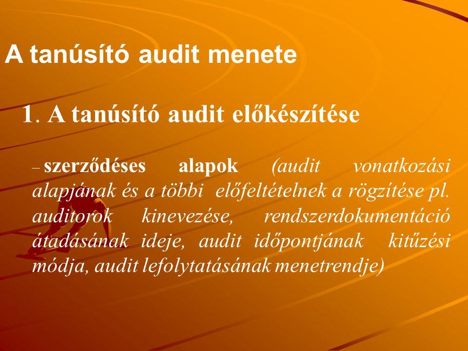 A tanúsító audit menete 1. A tanúsító audit előkészítése – szerződéses alapok (audit vonatkozási alapjának és a többi előfeltételnek a rögzítése pl. a